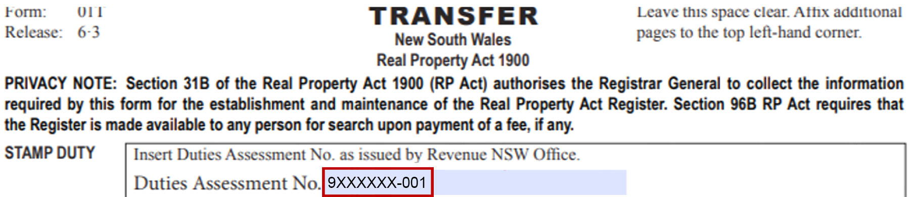 Example of transfers/real property instruments not settling electronically, NSW DAN location