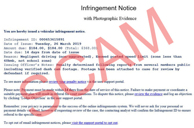Sample of scam email for infringement notice