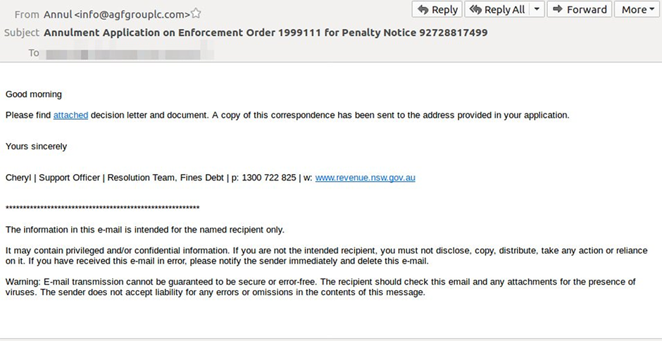 Example of scam email for annulment application